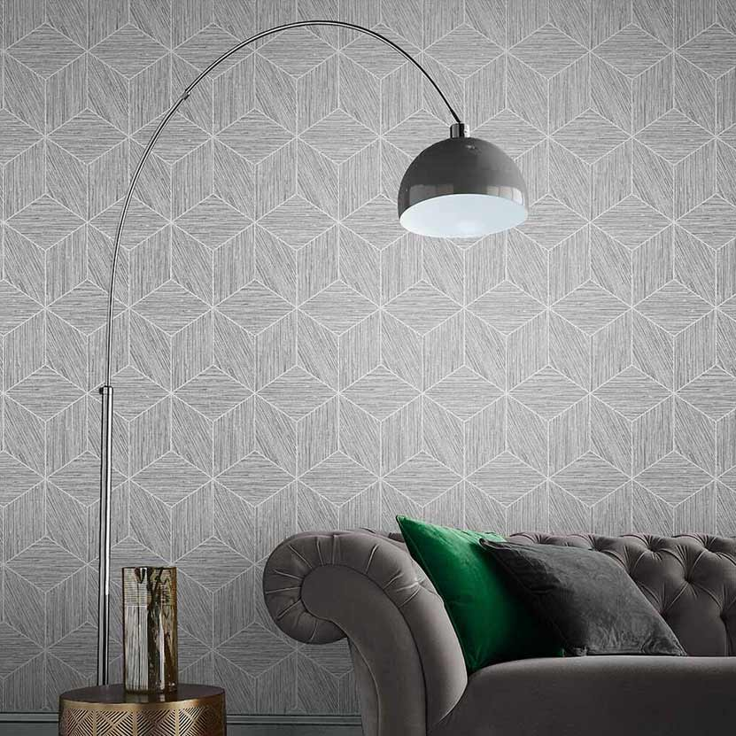 Grasscloth Geo Wallpaper